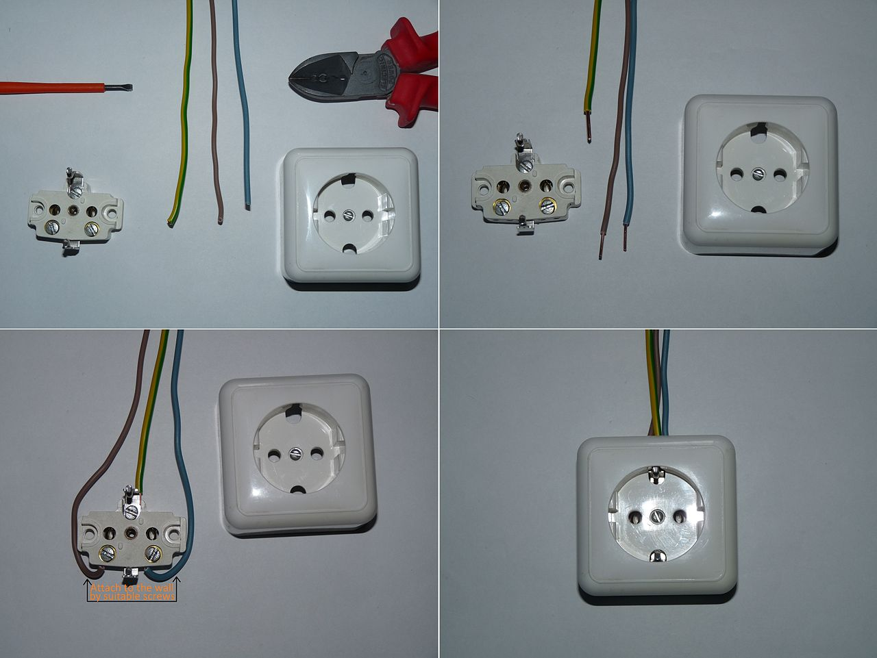 file example of schuko wiring jpg wikimedia commons rh commons wikimedia org Outlet Wiring Diagram 3 Prong Plug Wiring Diagram