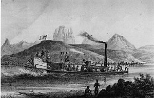 History of the Grand Canyon area - The 54-foot (16 m) paddle wheeler Explorer in the Lt. Joseph Ives expedition up the Colorado River. Period engraving.