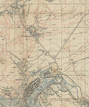 Mont Saint-Quentin - Extract of the British shooting canvas of January 8, 1917