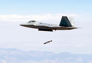 Guided bomb - An F-22 releases a JDAM from its center internal bay while flying at supersonic speed
