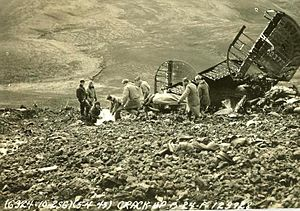 Frank Maxwell Andrews - U.S. Army personnel remove bodies from the wreckage of Andrews' B-24 after it struck a mountainside in Iceland, May 1943.