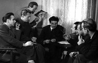 Fadil Hadžić - Fadil Hadžić (in centre) with his team for creating the Veliki miting, an animated film in 1949