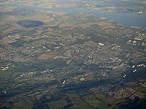 Falkirk and Stenhousemuir, as seen from above