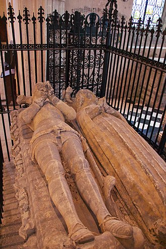 Thomas Hungerford (Speaker) - Effigies of Sir Thomas de Hungerford (d. 1397) and his second wife Joan Hussey (d. 1412), in the Chapel of St Anne (north transept chapel) of St Leonard's Chapel, Farleigh Hungerford Castle