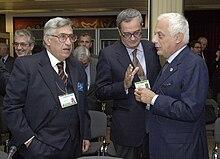 Antonio Fazio con Vincenzo Visco nel settembre 2000, alla conferenza di Praga dell'FMI