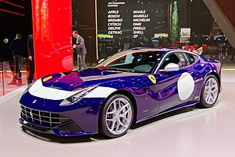 Ferrari F12 - Ferrari F12berlinetta in the distinctive 70th anniversary celebration livery on display at the Mondial de l'Automobile de Paris 2016