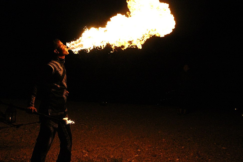 Fire breather at a Bedouin Camp