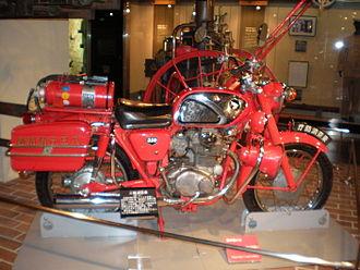 Fire bike - A fire bike in the Tokyo Fire Museum, Japan
