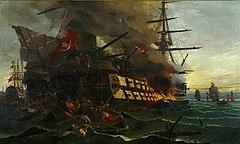 Η πυρπόληση στο λιμάνι της Ερεσσού από τον Δ. Παπανικολή, έργο του Βολανάκη
