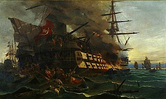 Fire ship - The attack on the Turkish frigate in the Gulf of Eressos at the Greek island of Lesvos by a fire ship commanded by Dimitrios Papanikolis during the Greek War of Independence - Painting by Konstantinos Volanakis
