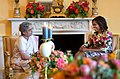 First Lady Michelle Obama hosts a tea for Smt. Gursharan Kaur, wife of the Prime Minister Dr. Manmohan Singh of India, in the Yellow Oval Room of the White House,. (Official White House Photo by Amanda Lucidon).jpg