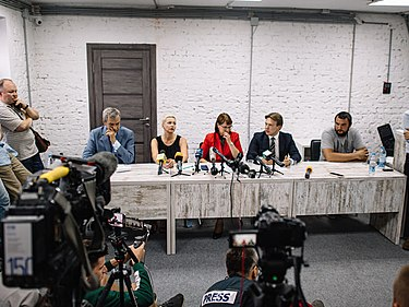 First press conference of the Coordination Council on 18 August 2020 First press conference of the Coordination Council of Belarus.jpg