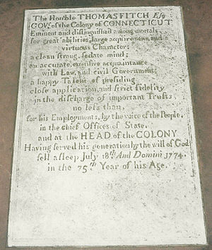 Thomas Fitch (governor) - Image: Fitch inscription