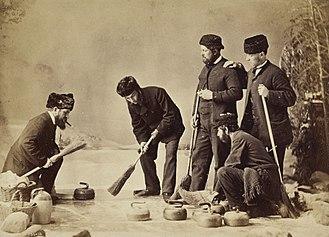William Notman - Five men curling (albumen print) The National Galleries of Scotland