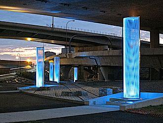 Leonard P. Zakim Bunker Hill Memorial Bridge - Under Zakim Bridge, Five Beacons for the Lost Half Mile, blue phase