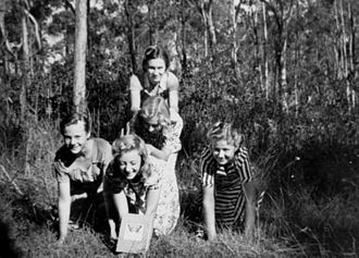 1951 in Australia - Five Latvian girls in the bush near Brisbane, 1951