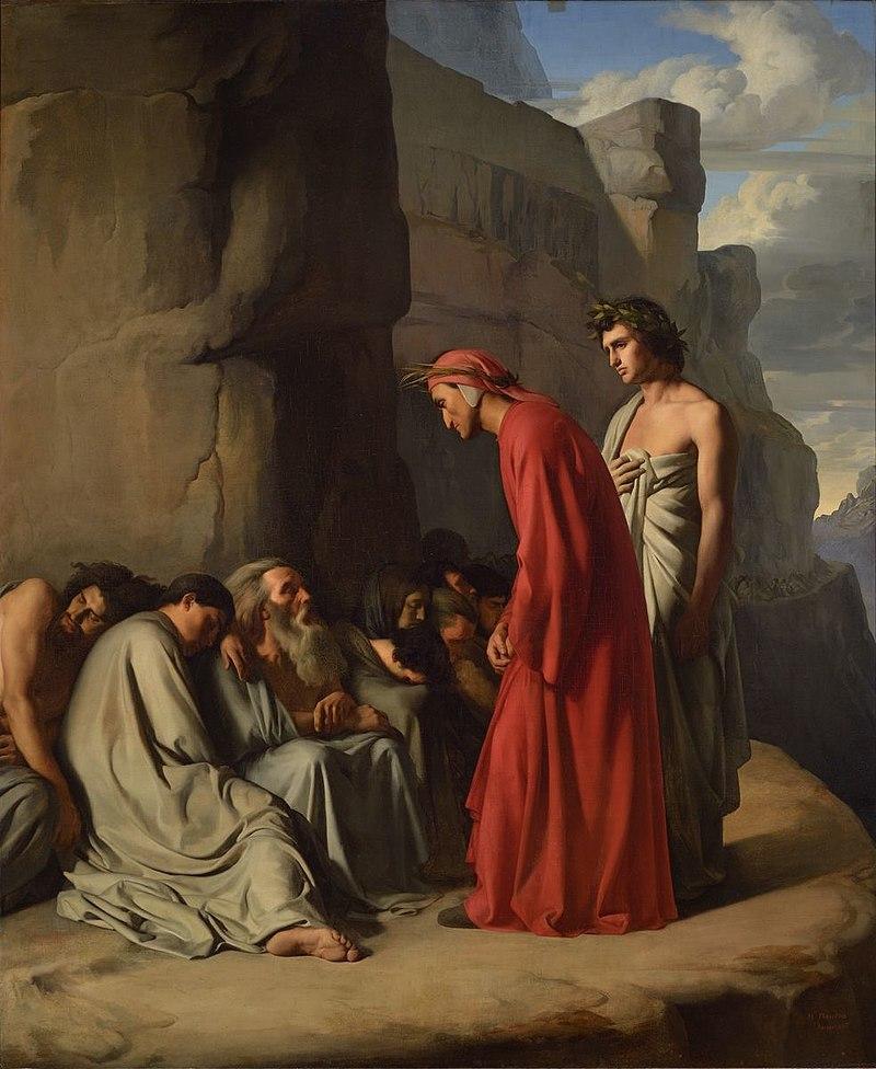 Фландрин-Ипполит Ле-Данте, возглавляемый Вирджилем, предлагает утешение душам завистников 1835 Image Lyon-MBA Photo-Alain-Basset.jpg