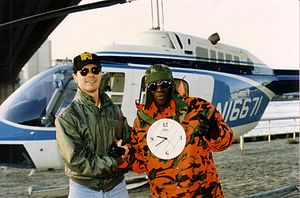 Flavor Flav - Flavor Flav and helicopter pilot Ray McCort on MTV shoot in NYC