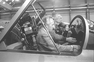 IAI Lavi - Shimon Peres seated in the cockpit of a mock-up Lavi, August 1985