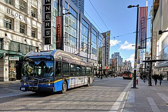 Granville Mall, Vancouver - A northbound trolley bus on the Granville Mall
