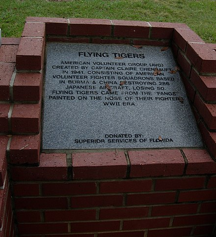 Flying Tigers Monument Ocala, Florida Memorial Park Flying Tigers Monument.jpg