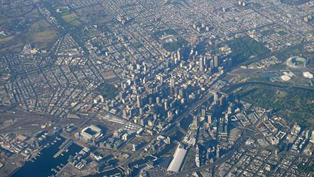 Aerial view of the CBD and surrounding inner suburbs Flying over Melbourne 2.jpg