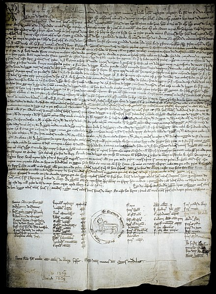 One of the oldest legal charters written in Galician, the constitutional charter of the Bo Burgo (Good Burg) of Castro Caldelas. Year 1228. ForoBoBurgo.jpg