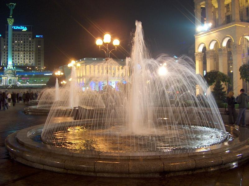 A fountain in the Maidan in the evening, 2004.