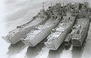 Four Japanese No101-class landing ships
