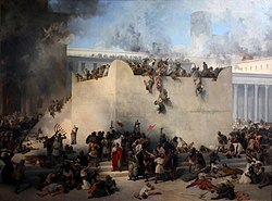 Destruction of the Temple of Jerusalem, Francesco Hayez, oil on canvas, 1867. Depicting the destruction and looting of the Second Temple by the Roman army.