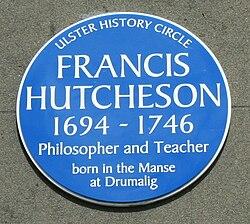 Photo of Francis Hutcheson blue plaque