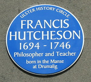 Francis Hutcheson (philosopher) - Plaque to Francis Hutcheson on the Guildhall, Saintfield