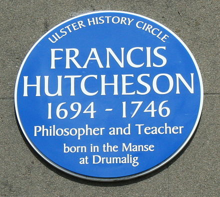 Plaque to Francis Hutcheson on the Guildhall, Saintfield Francis Hutcheson plaque.jpg