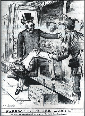 """Francis Schnadhorst - """"Farewell to the Caucus"""": cartoon of Schnadhorst leaving Birmingham on a London-bound train in 1886, following the split in the Liberal Party over Irish Home Rule"""