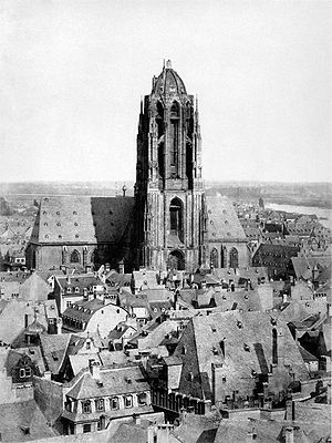 Altstadt (Frankfurt am Main) - View of the Cathedral from Paulskirche, 1866 (Photography by C.F.Mylius)