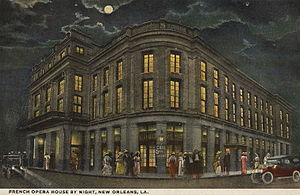 French Opera House - Postcard view from late in the building's history