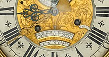 detail of the face of an 18th century equation clock