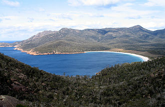 Tasmania Parks and Wildlife Service - Wineglass Bay, part of Freycinet National Park which was expanded under the Regional Forestry Agreement