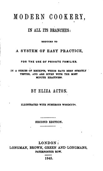 Eliza Acton - Frontispiece from Modern Cookery for Private Families, Acton's best known work