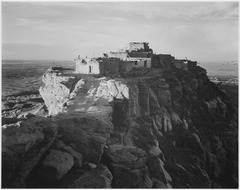 "Full view of the city on top of mountain, ""Walpi, Arizona, 1941,""., 1941 - NARA - 519989.tif"