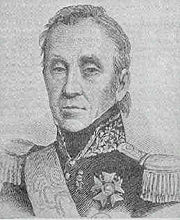 Black and white print of a thin-faced man with heavy eyelids in a dark military uniform with epualettes