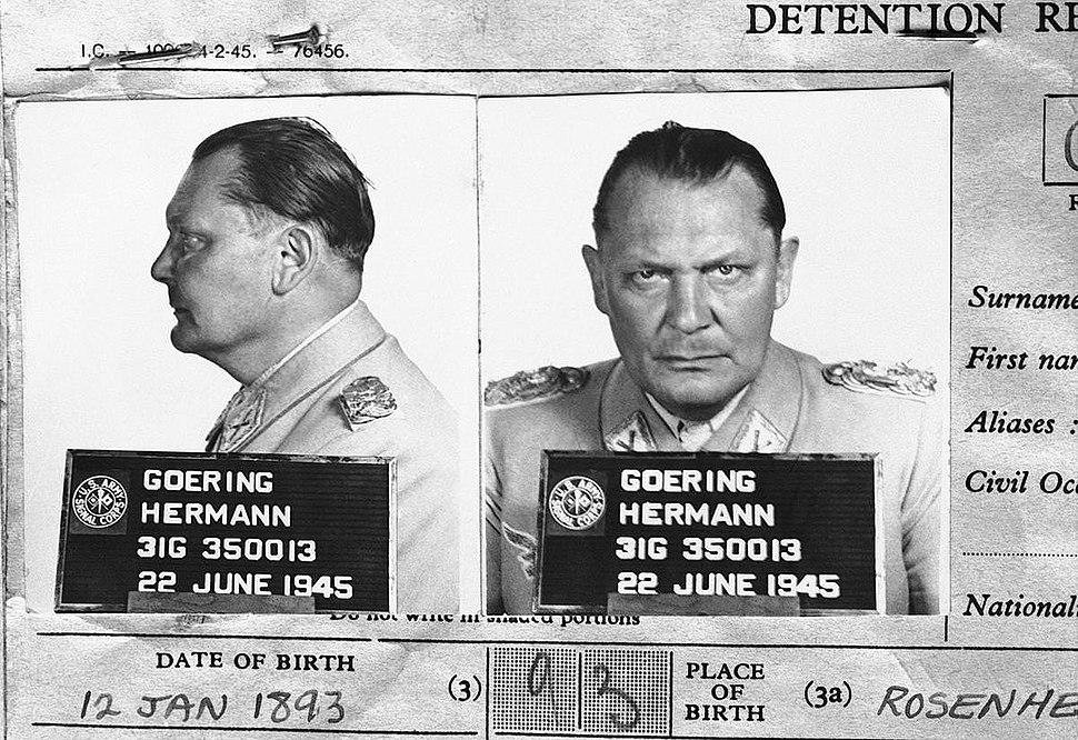 Göring Detention Report mugshots