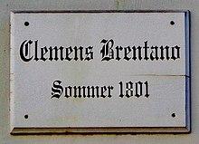 Göttinger Gedenktafel für Clemens Brentano (Quelle: Wikimedia)