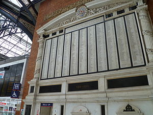 Great Eastern Railway - Memorial at Liverpool Street station to GER staff who died during the First World War, unveiled in 1922 by Sir Henry Wilson, who was assassinated by Irish Republican Army gunmen on his way home from the unveiling ceremony.