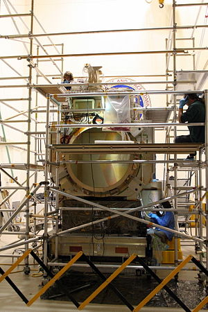 Global Precipitation Measurement - Full-Scale Harness Mockup Model of the Core GPM Spacecraft being used for harness assembly inside the Acoustic Chamber at GSFC.