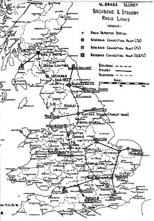 British Telecom microwave network - Backbone as proposed in 1956