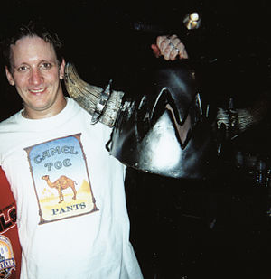 Balsac the Jaws of Death - Mike Derks, out of costume, holding the Balsac head.