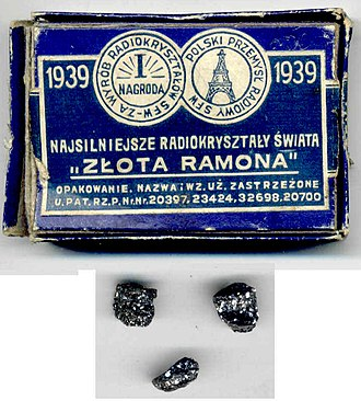 Crystal detector - Galena crystals sold for use in crystal detectors, Poland, 1930s