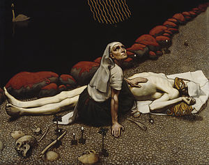 Tuonela - Lemminkäisen äiti by Akseli Gallen-Kallela. The mother of young Lemminkäinen has gone to the river of Tuoni to find the corpse of her dead son. One of the myths told in Kalevala.