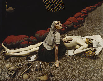 Finnish paganism - Lemminkäisen äiti by Akseli Gallen-Kallela. A depiction of the underworld, Tuonela, from a myth found in the Kalevala.